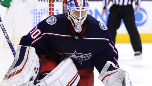 Columbus Blue Jackets Goaltender Joonas Korpisalo reacts to a puck headed in his direction against the Edmonton Oilers at Nationwide Arena.