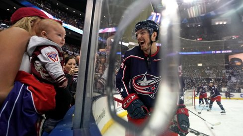 Columbus Blue Jackets center Matt Duchene (95) reacts to his wife and son prior to game four against the Boston Bruins in the second round of the 2019 Stanley Cup Playoffs at Nationwide Arena.