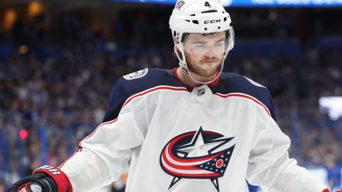 olumbus Blue Jackets defenseman Scott Harrington (4) during the second period of game one of the first round of the 2019 Stanley Cup Playoffs at Amalie Arena