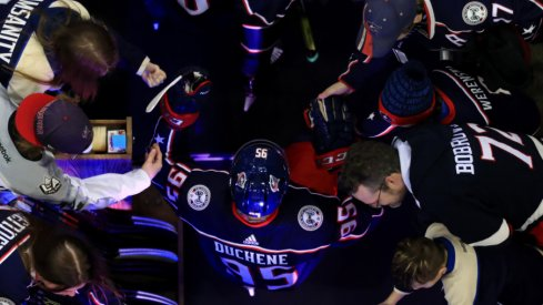 Columbus Blue Jackets Center Matt Duchene interacts with fans prior to his home debut with the team against the San Jose Sharks