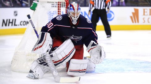 Columbus Blue Jackets goaltender Joonas Korpisalo (70) makes a save in net against the Edmonton Oilers in the third at Nationwide Arena.