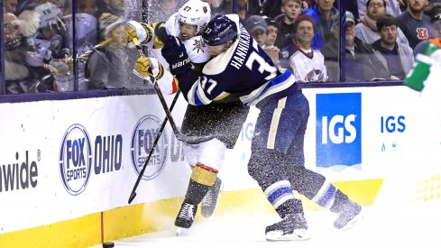 Dec 17, 2018; Columbus, OH, USA; Columbus Blue Jackets left wing Markus Hannikainen (37) in the second period at Nationwide Arena.