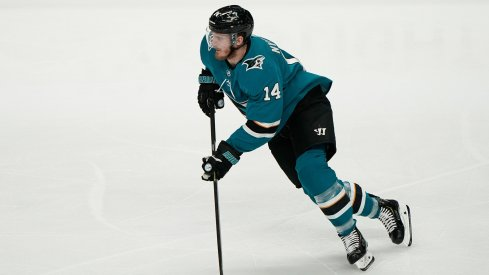 May 19, 2019; San Jose, CA, USA; San Jose Sharks center Gustav Nyquist (14) controls the puck against the St. Louis Blues during the first period in Game 5 of the Western Conference Final of the 2019 Stanley Cup Playoffs at SAP Center at San Jose.