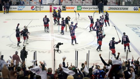 Apr 16, 2019; Columbus, OH, USA; The Columbus Blue Jackets celebrate defeating the Tampa Bay Lightning in game four of the first round of the 2019 Stanley Cup Playoffs at Nationwide Arena.