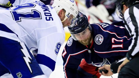 Apr 16, 2019; Columbus, OH, USA; Tampa Bay Lightning center Steven Stamkos (91) battles against Columbus Blue Jackets center Brandon Dubinsky (17) during game four of the first round of the 2019 Stanley Cup Playoffs at Nationwide Arena.