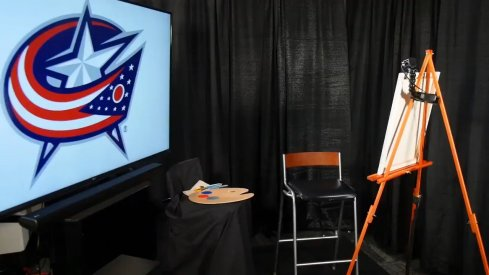 Blue Jackets prospects' paint the team's logo and the results are less than pleasing.
