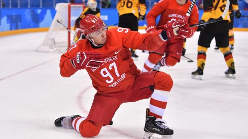 Russian forward Nikita Gusev celebrates a goal scored against Germany in the 2018 Olympic Winter Games.