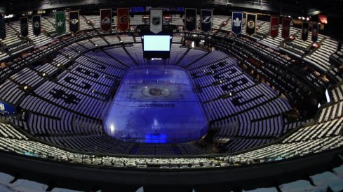 Nationwide Arena is seen empty during the first round of the 2019 Stanley Cup Playoffs prior to game four between the Columbus BlueJackets and Tampa Bay Lightning.