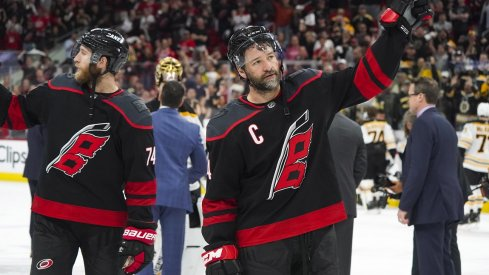 Carolina Hurricanes right wing Justin Williams (14) waves to the crowd after their loss to the Boston Bruins in game four of the Eastern Conference Final of the 2019 Stanley Cup Playoffs at PNC Arena. The Boston Bruins defeated the Carolina Hurricanes 4-0.
