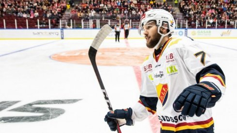 Forward Emil Bemstrom is pictured skating for Djurgårdens IF of the Swedish Hockey League.