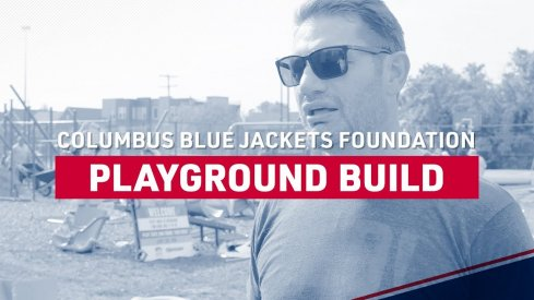 Blue Jackets Staff help build a playground and continue to help out in the community.