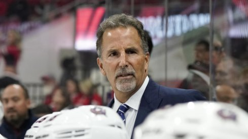 Columbus Blue Jackets head coach John Tortorella looks over his players during a game against the Carolina Hurricanes at PNC Arena in October of 2017.