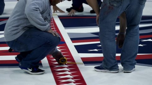 The ice being reinstalled at Nationwide Arena.