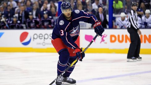 Apr 16, 2019; Columbus, OH, USA; Columbus Blue Jackets defenseman Seth Jones (3) against the Tampa Bay Lightning in game four of the first round of the 2019 Stanley Cup Playoffs at Nationwide Arena.