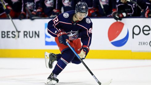 Apr 16, 2019; Columbus, OH, USA; Columbus Blue Jackets center Alexandre Texier (42) against the Tampa Bay Lightning in game four of the first round of the 2019 Stanley Cup Playoffs at Nationwide Arena.