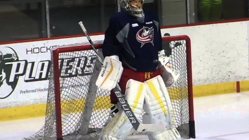 Columbus Blue Jackets goaltender Elvis Merzlikins looks on during a drill at Development Camp in Columbus, Ohio.