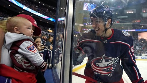 May 2, 2019; Columbus, OH, USA; Columbus Blue Jackets center Matt Duchene (95) reacts to his wife and son prior to game four against the Boston Bruins in the second round of the 2019 Stanley Cup Playoffs at Nationwide Arena.