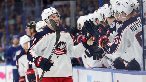Columbus Blue Jackets defenseman Zach Werenski celebrates a power play goal scored in Game 2 of the Stanley Cup Playoffs at Amalie Arena against the Tampa Bay Lightning.