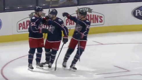 Columbus Blue Jackets forward Emil Bemstrom celebrates a power play goal against the Buffalo Sabres at Nationwide Arena.