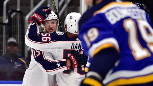 Jakob Lilja scored two goals in the Columbus Blue Jackets' preseason game against the St. Louis Blues on Sept. 22.