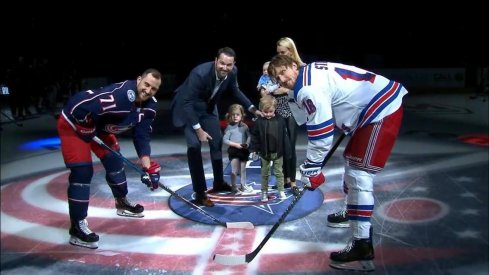 Columbus Blue Jackets legend Rick Nash drops the puck before a game against the New York Rangers at Nationwide Arena.