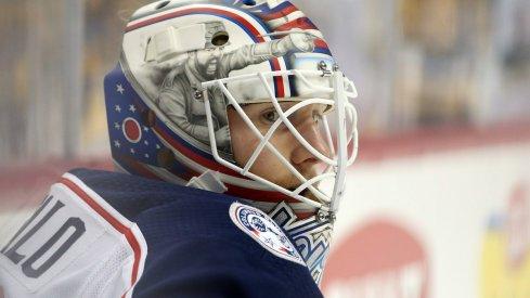 Columbus Blue Jackets goaltender Joonas Korpisalo looks on during a game against the Toronto Maple Leafs.