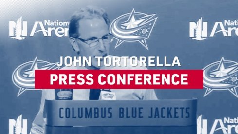 Head coach John Tortorella speaks before the Blue Jackets take on the Buffalo Sabres Monday night at Nationwide Arena.
