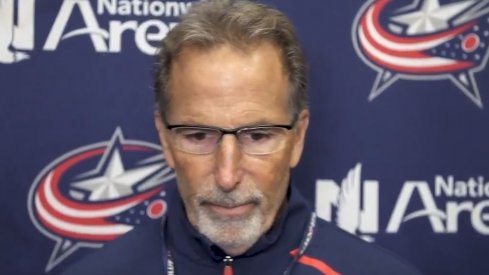 Head coach John Tortorella speaks to the assembled media after practice on October 10.