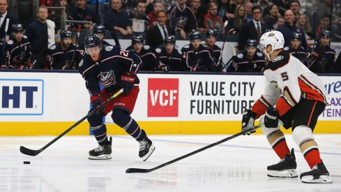 Columbus Blue Jackets center Riley Nash (20) carries the puck as Anaheim Ducks defenseman Korbinian Holzer (5) defends during the second period at Nationwide Arena.