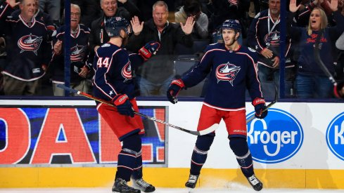 Oct 16, 2019; Columbus, OH, USA; Columbus Blue Jackets center Alexander Wennberg (10) celebrates with teammate defenseman Vladislav Gavrikov (44) after scoring a goal against the Dallas Stars in the first period at Nationwide Arena.