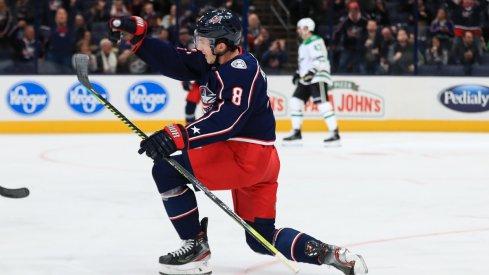 Zach Werenski celebrates his 40th career goal