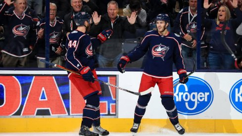Columbus Blue Jackets center Alexander Wennberg celebrates a goal scored against the Dallas Stars at Nationwide Arena.