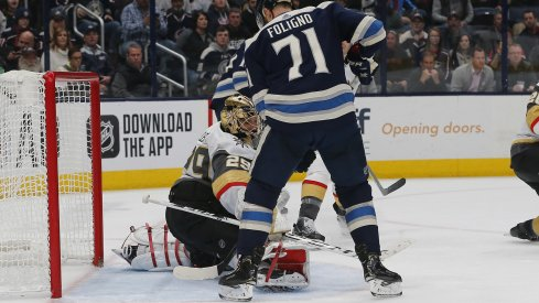 Nov 5, 2019; Columbus, OH, USA; Columbus Blue Jackets left wing Nick Foligno (71) looks for the rebound of a Vegas Golden Knights goalie Marc-Andre Fleury (29) save during the second period at Nationwide Arena. Mandatory Credit: Russell LaBounty-USA TODAY Sports