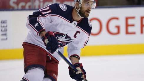 Columbus Blue Jackets forward Nick Foligno (71) skates against the Toronto Maple Leafs at Scotiabank Arena. Columbus defeated Toronto in overtime.