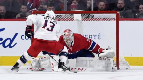 Nov 12, 2019; Montreal, Quebec, CAN; Columbus Blue Jackets forward Cam Atkinson (13) can not score against Montreal Canadiens goalie Carey Price (31) during the shootout period at the Bell Centre. Mandatory Credit: Eric Bolte-USA TODAY Sports