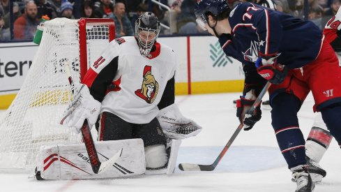 Ottawa Senators goalie Craig Anderson (41) makes a save from the shot of Columbus Blue Jackets right wing Josh Anderson (77) during the second period at Nationwide Arena.