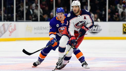 Mar 11, 2019; Uniondale, NY, USA; Columbus Blue Jackets defenseman Seth Jones (3) skates with the puck against the New York Islanders during the third period at Nassau Veterans Memorial Coliseum.