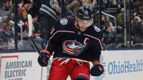 Nov 29, 2019; Columbus, OH, USA; Columbus Blue Jackets left wing Nick Foligno (71) celebrates after scoring a goal against the Pittsburgh Penguins during the second period at Nationwide Arena.