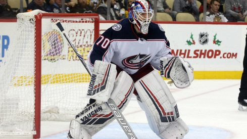 Nov 24, 2018; Pittsburgh, PA, USA; Columbus Blue Jackets goaltender Joonas Korpisalo (70) guards the net against the Pittsburgh Penguins during the second period at PPG PAINTS Arena. The Penguins won 4-2. Mandatory Credit: Charles LeClaire-USA TODAY Sports