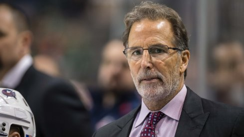Columbus Blue Jackets head coach John Tortorella watches his team take on the Dallas Stars during the third period at the American Airlines Center.
