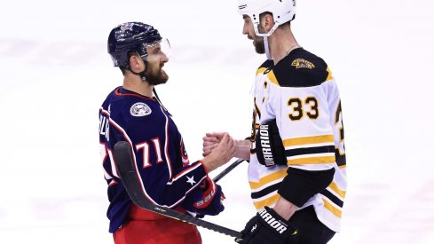 May 6, 2019; Columbus, OH, USA; Columbus Blue Jackets left wing Nick Foligno (71) shakes hands with Boston Bruins defenseman Zdeno Chara (33) after game six of the second round of the 2019 Stanley Cup Playoffs at Nationwide Arena. Mandatory Credit: Aaron Doster-USA TODAY Sports