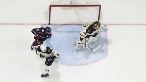 May 6, 2019; Columbus, OH, USA; Boston Bruins goalie Tuukka Rask (40) tracks the puck aColumbus Blue Jackets during the third period in game six of the second round of the 2019 Stanley Cup Playoffs at Nationwide Arena. Mandatory Credit: Russell LaBounty-USA TODAY Sports