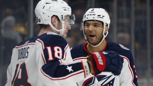 Jan 2, 2020; Boston, Massachusetts, USA; Columbus Blue Jackets center Pierre-Luc Dubois (18) celebrates with defenseman Seth Jones (3) after scoring the game winning goal during the overtime period against the Boston Bruins at TD Garden. Mandatory Credit: Greg M. Cooper-USA TODAY Sports