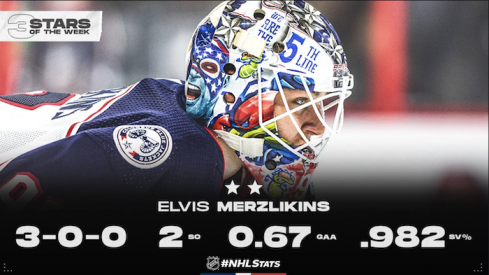 Elvis Merzlikins was named the NHL's second star of the week on Monday afternoon.
