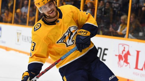Viktor Arvidsson plays against the Blue Jackets