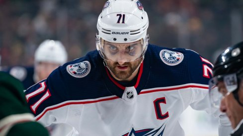 Columbus Blue Jackets forward Nick Foligno (71) takes the faceoff in the first period against Minnesota Wild at Xcel Energy Center.