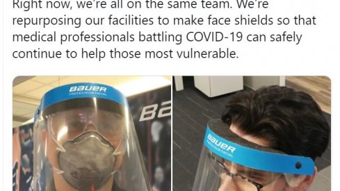 Bauer Hockey shifts production from equipment to medical shields during the COVID-19 pandemic.Screen capture from https://twitter.com/BauerHockey/status/1242878347346153478