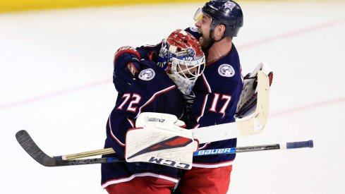 Apr 16, 2019; Columbus, OH, USA; Columbus Blue Jackets goaltender Sergei Bobrovsky (72) reacts with center Brandon Dubinsky (17) against the Tampa Bay Lightning in game four of the first round of the 2019 Stanley Cup Playoffs at Nationwide Arena.
