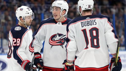 Columbus Blue Jackets defenseman Zach Werenski (8) celebrates with teammates after scoring a goal against the Tampa Bay Lightning at Amalie Arena.