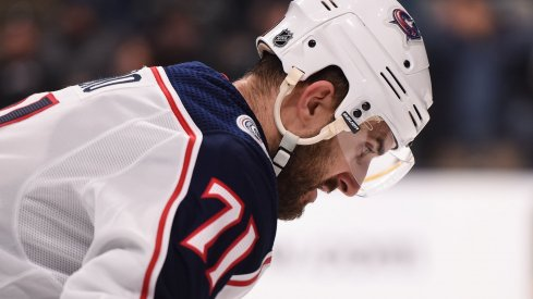 Columbus Blue Jackets left wing Nick Foligno (71) reacts during the third period against the San Jose Sharks at SAP Center at San Jose.